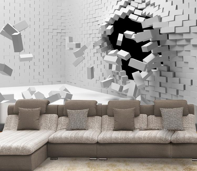 2016 new hot sale 3d art can be customized large scale for White brick wallpaper bedroom