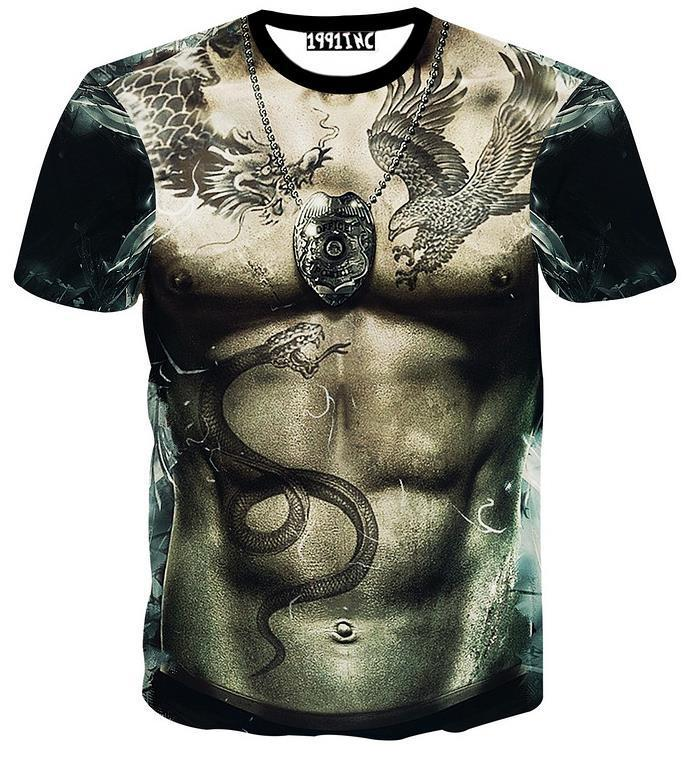 3D Upper Body Muscles Printed Summer Style Men's Short Sleeve T ...