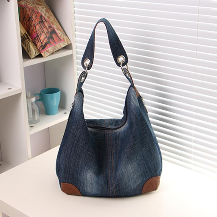 2015 Jean Denim Ladies Hand Bags Women Big Hobo Handbags Shopper ...