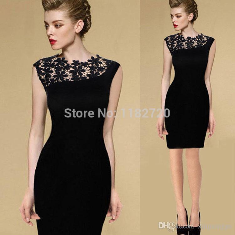 Womens Celeb Lace Sexy Little Black Dress Mini Bodycon Clubwear ...