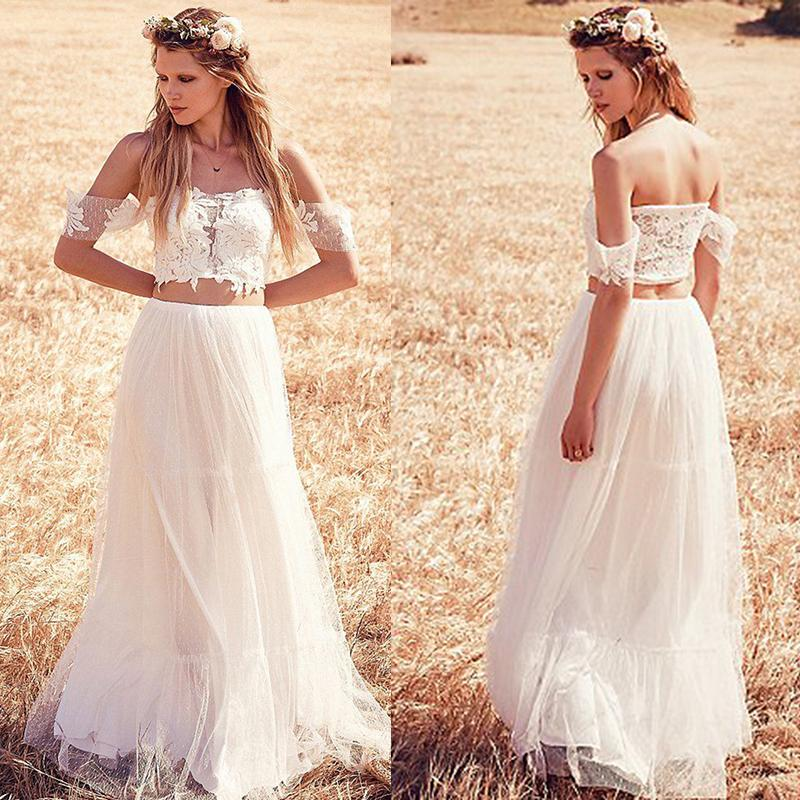 Discount crop top two pieces wedding dresses 2015 new for Crop top wedding dress