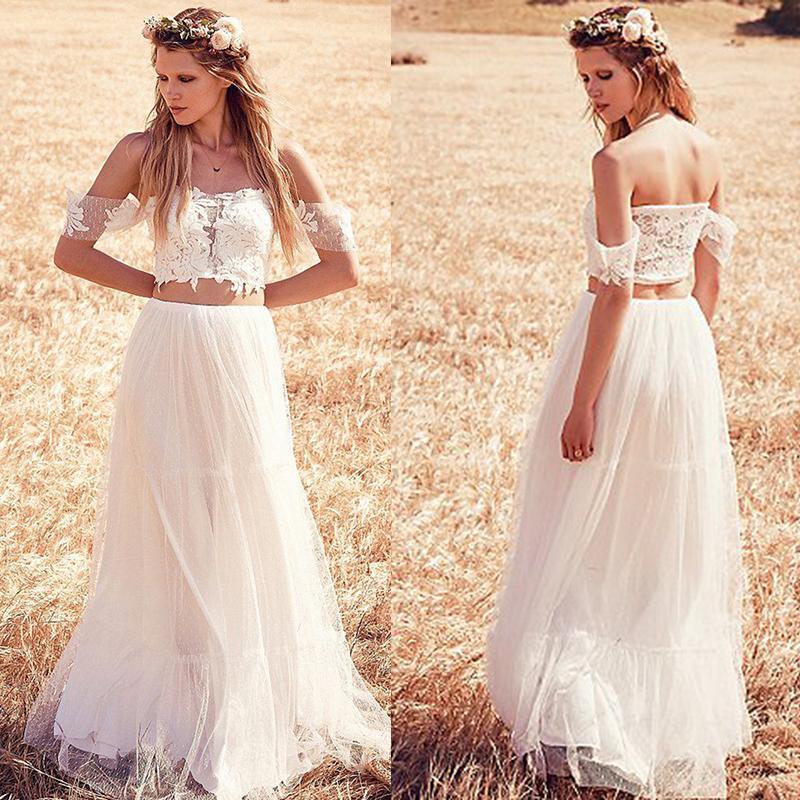 Crop Top Wedding Dress Of Discount Crop Top Two Pieces Wedding Dresses 2015 New