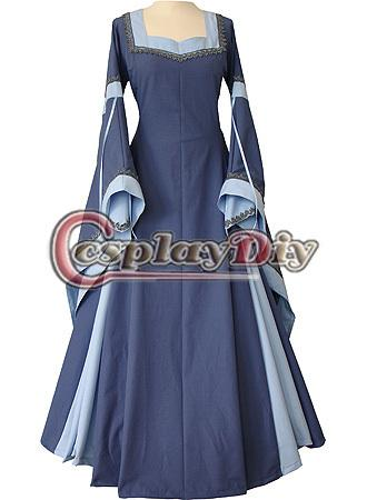 Custom Made Light Blue Medieval And Renaissance Dress With Trumpet ...