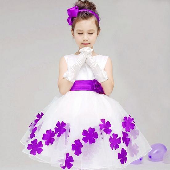 Little Girl'S White And Red Petal Princess Flower Girl Dress ...
