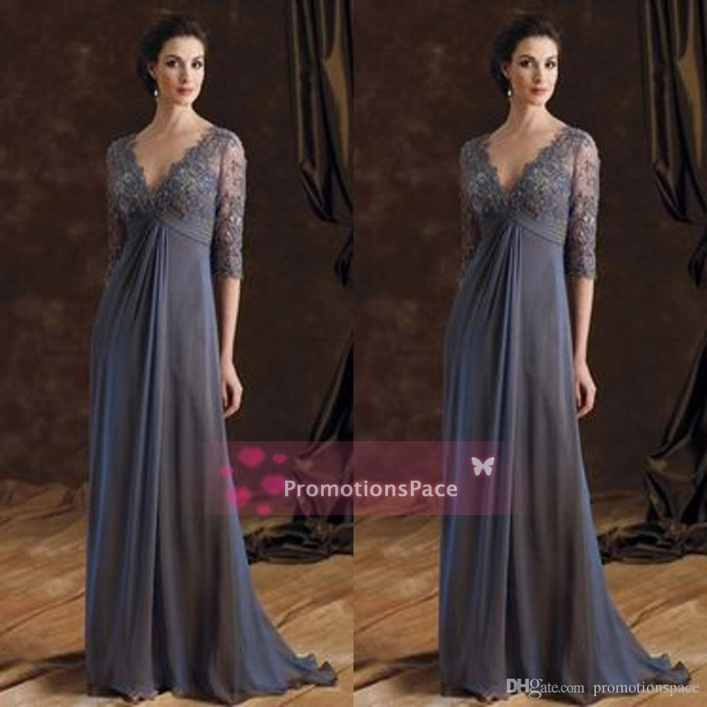 Empire Waist Lace Chiffon Mother Dresses 2015 Deep Vneck