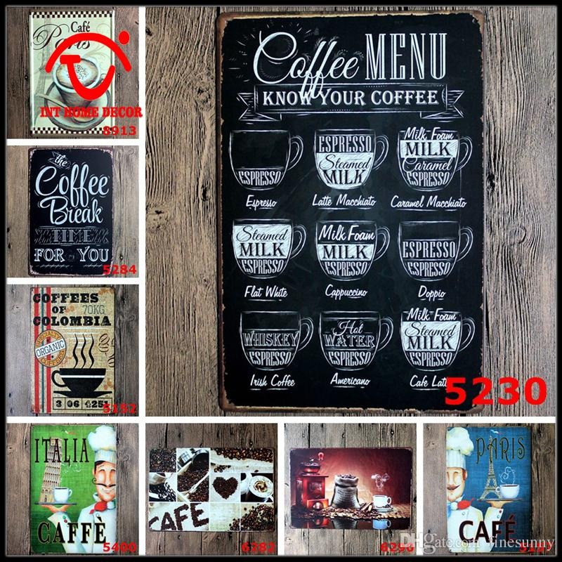 coffee metal signs cafe bar kitchen tin sign wall metal painting vintage retro poster shabby chic