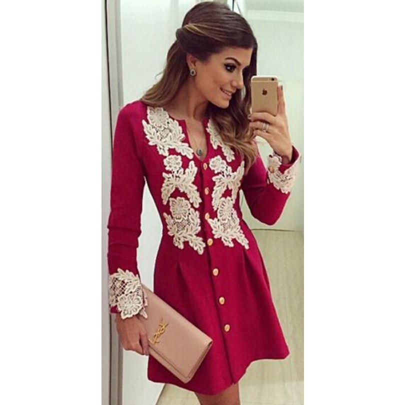 Autumn Winter Dresses For Womens Midi Dress Crochet Vestidos ...