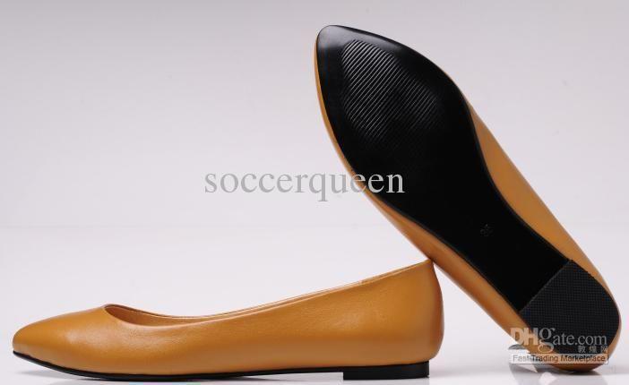 2017 Wholesale Osionce Dress Shoes For Women Brown Flat Designer ...