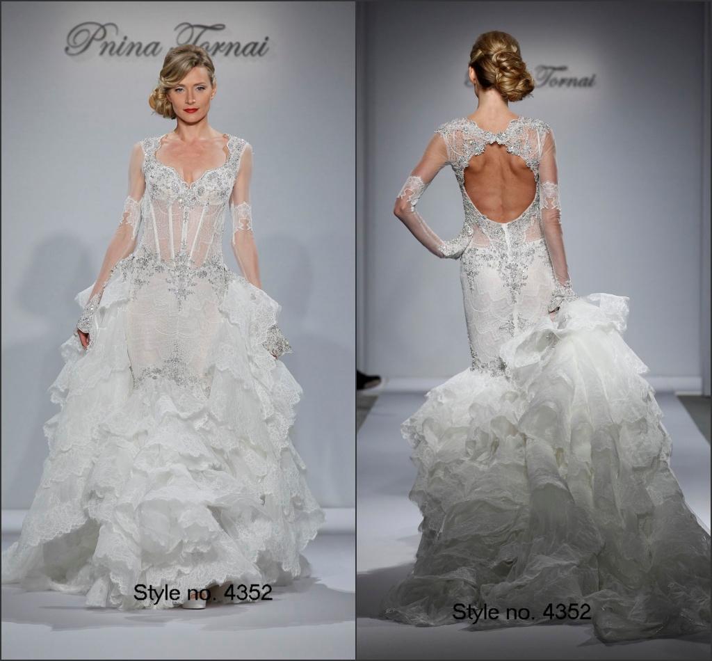 Modest Pnina Tornai 2015 Bridal Gown See Through Corset