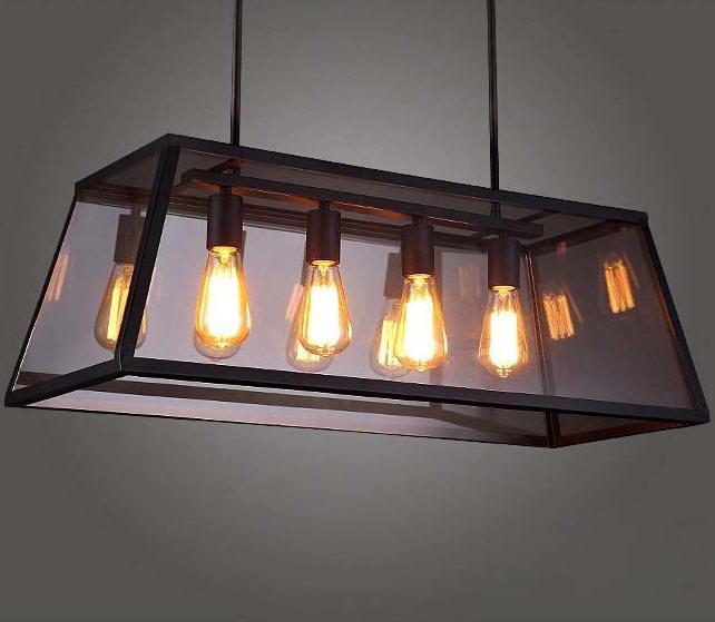 Rh Loft Edison Box Chandelier Rectangular Pendant Lamp