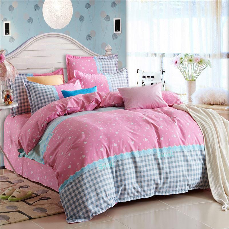 2017 fresh pink grey checked print bedding set for children 39 s girls home decor twin full queen. Black Bedroom Furniture Sets. Home Design Ideas