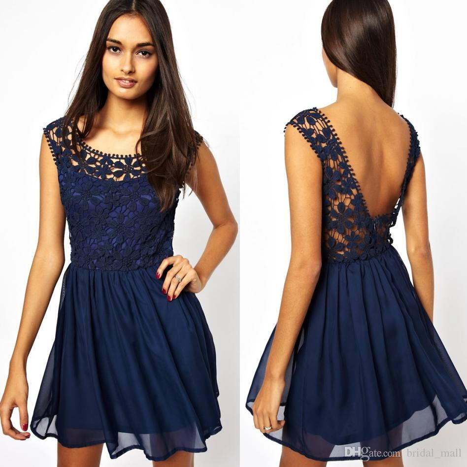 Wedding Navy Lace Dress dark navy lace chiffon backless casual dresses a line scoop mini short party prom cocktail street gowns 2015 valentines day club