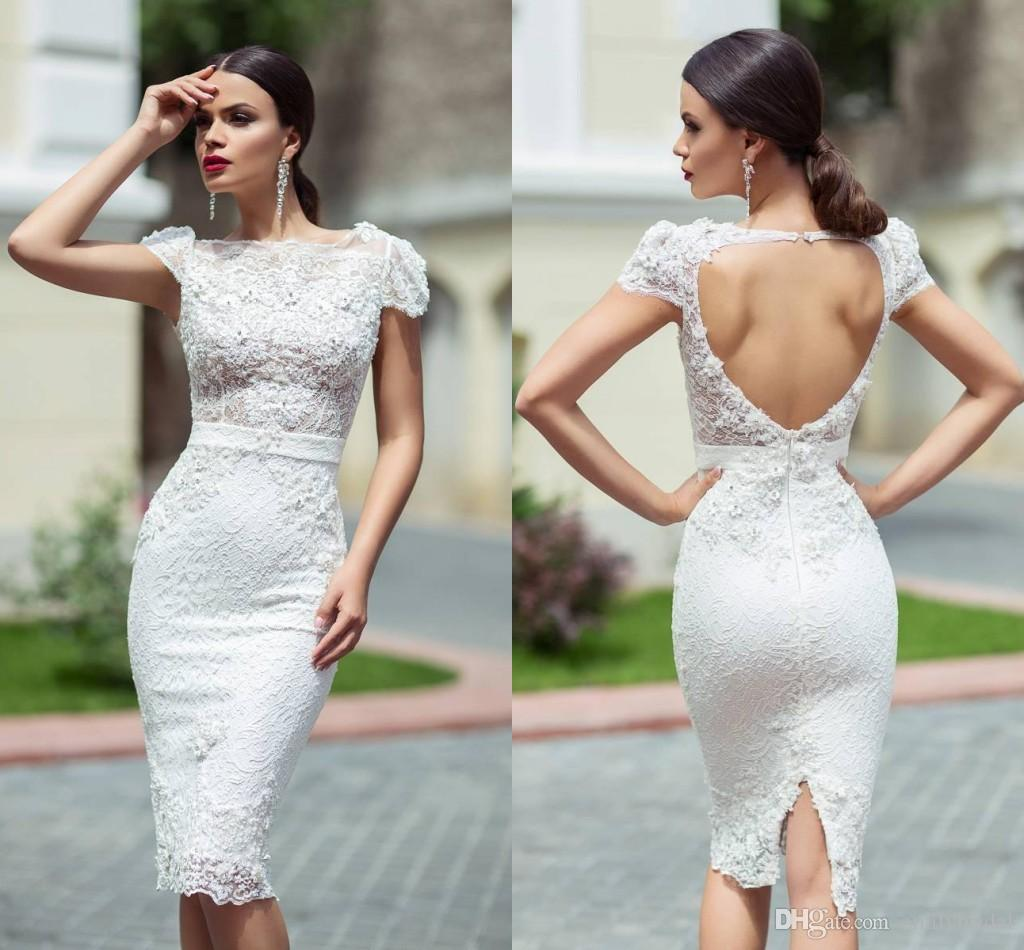 Short Wedding Dresses 2016 Sexy Keyhole Back with Short Sleeves ...