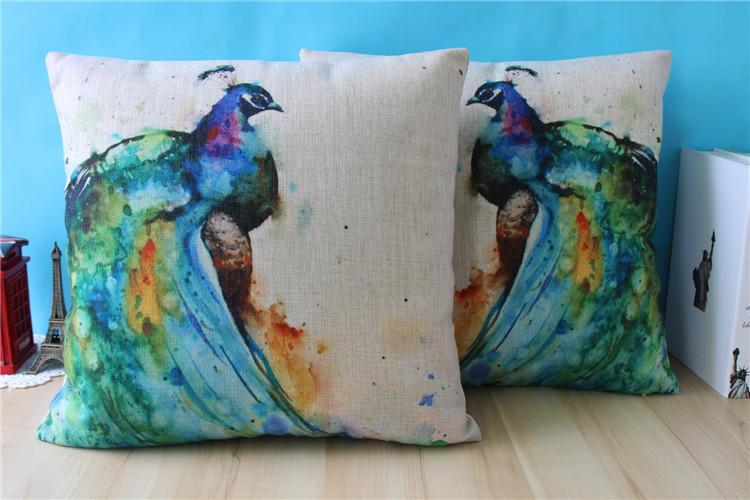 Peacock Pillow Cover Watercolor Pillow Case The Peacock Oil Style Painting Cotton Linen Throw