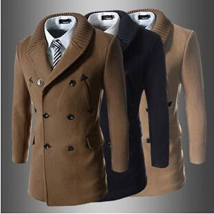 Men Wool Coat 2015 Winter Fashion Foreign Trade Double Breasted