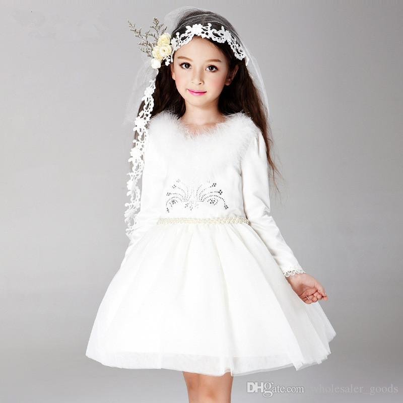 Flower Girls Dress Long Sleeves Wedding Dresses 2016 Elegant ...