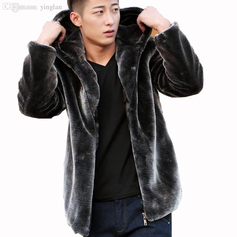 Online Cheap Fall Mens Faux Fur Coat Hood Motorcycle Hooded ...