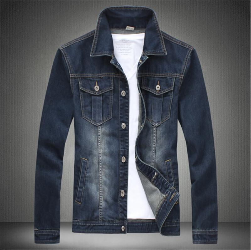 Fashion Men Jeans Jacket Plus Size M 5xl Dark Blue And Light Blue ...