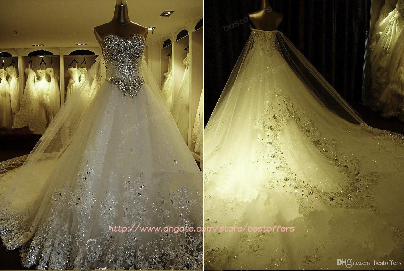 2015 Luxury A Line Wedding Dresses with Beaded Crystals