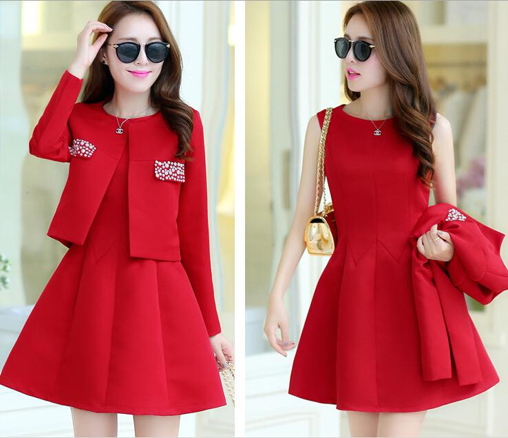 Online Cheap 2015 Short Red Dresses Jewel Neck Capped Sleeves ...