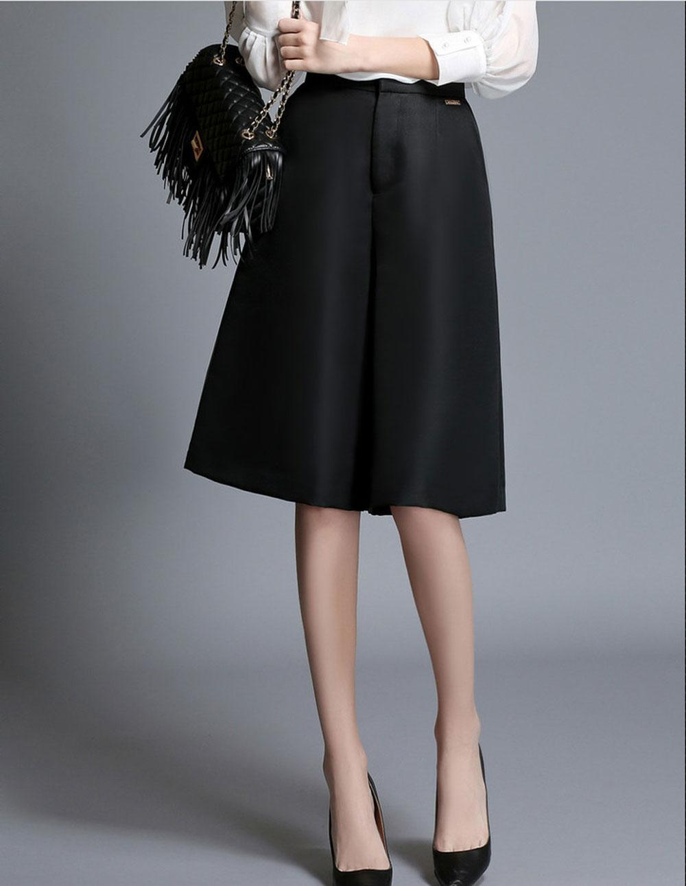 2017 Fashion Women Black High Waisted A Line Wide Leg Pants Shorts ...
