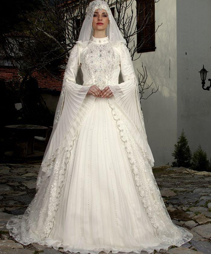 Bridal Gowns Kuwait : Saudi arabia muslim long sleeve wedding dress high collar