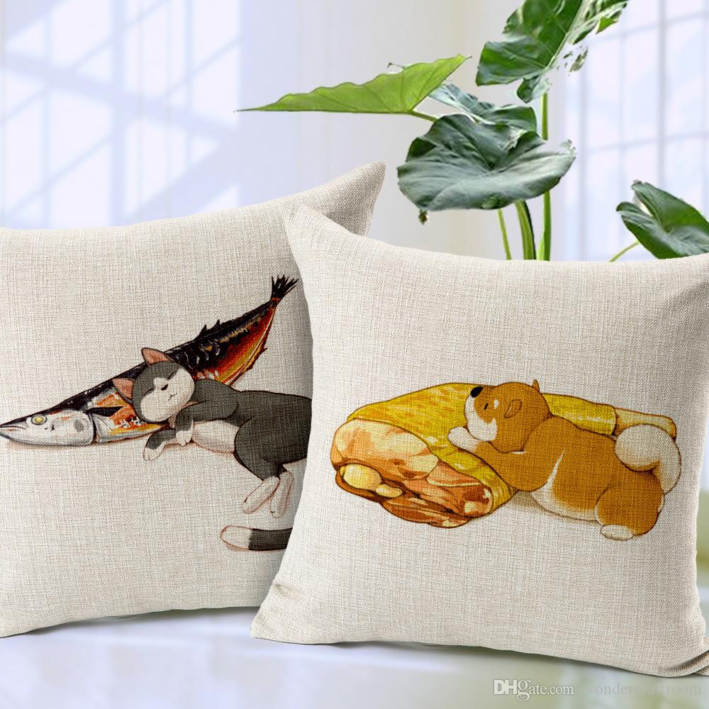 Decorative Pillow Set Fat Dog Cat Fish Custom Print Cushion Cover Pillow Case Home