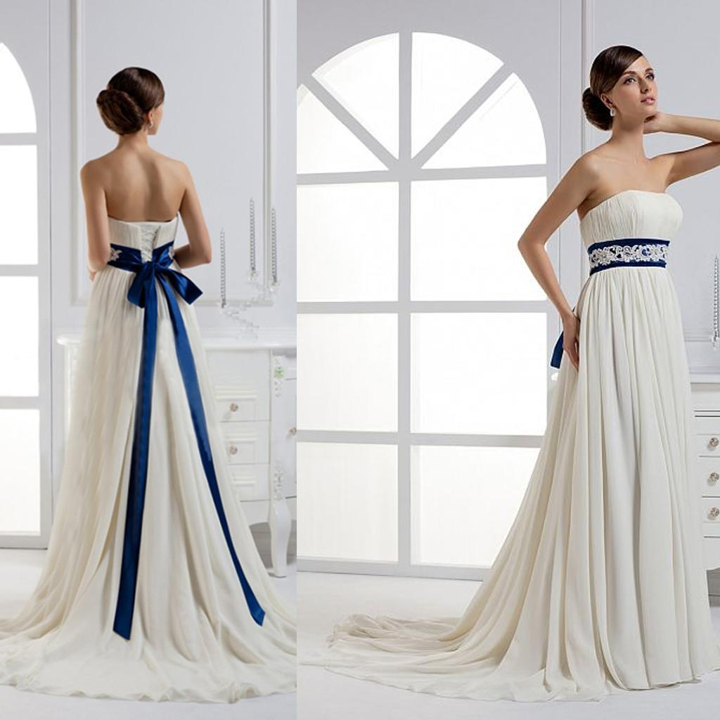 Discount royal blue and ivory wedding dresses from for Blue sash for wedding dress