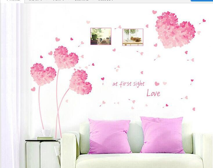 New 2015 Heart 3d Wall Stickers Pink Love Decoration Heart Wall Stickers Wedding Decoration Home Decoration Wall Decor Vinyl Wall Decor Stickers Quotes Wall