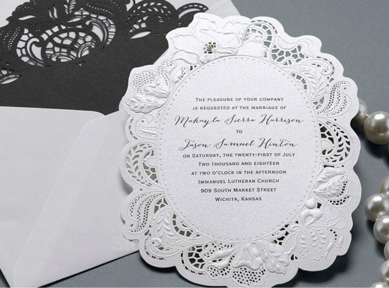 royal white die cut laser cut wedding invitation card embossing, Wedding invitations