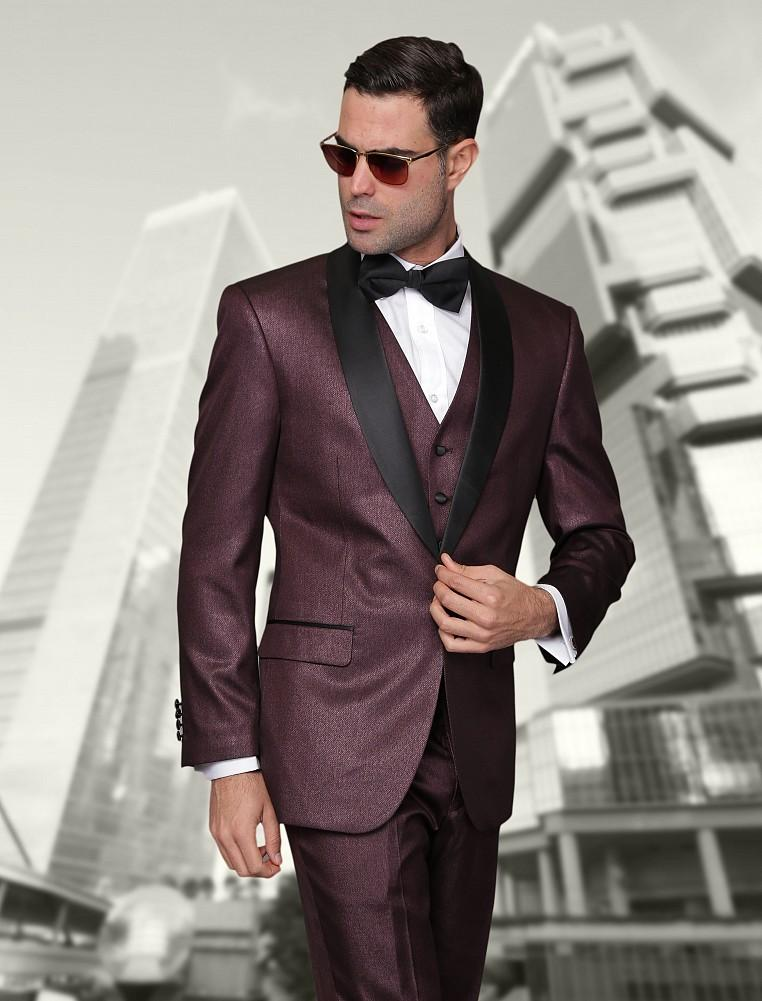 2015 Burgundy Groom Wear Suits Black Lapel Jacket Pants Tie Vest ...