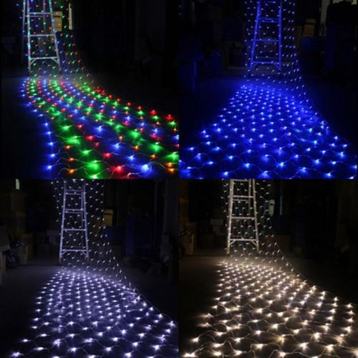 Led net light 220v 2m 3m 210leds string net light for Outdoor decorative lights