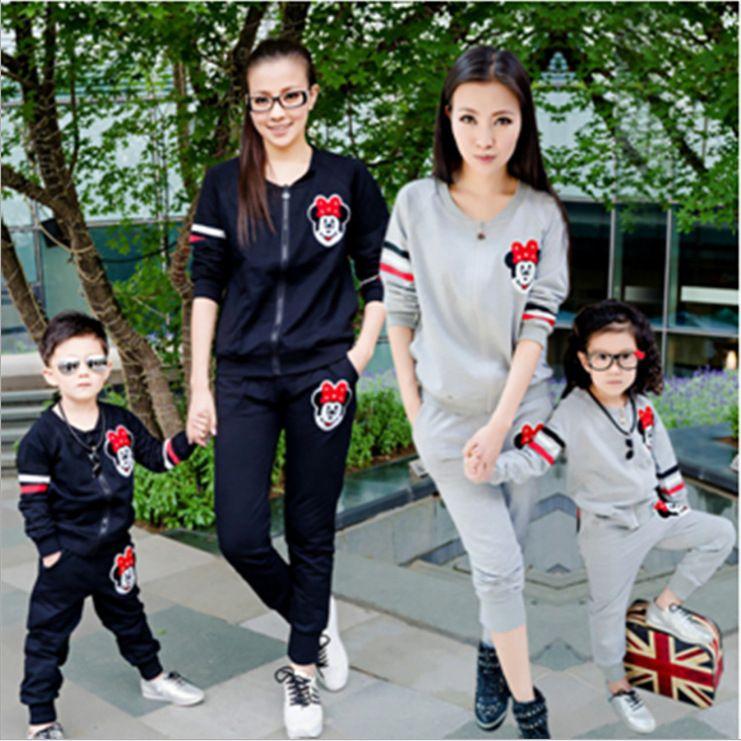 Fashion Black/Grey Mom And Daughter/Son Clothing Sets Long ...