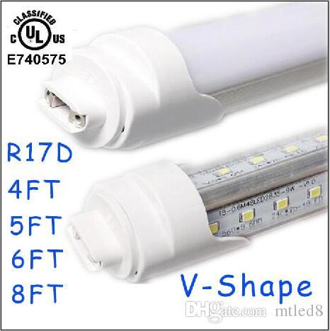 25pcs T8 LED Tube lumière R17d 8ft 6FT 5FT 4FT 1.2m ~ 2.4m LED forme en V 270 °