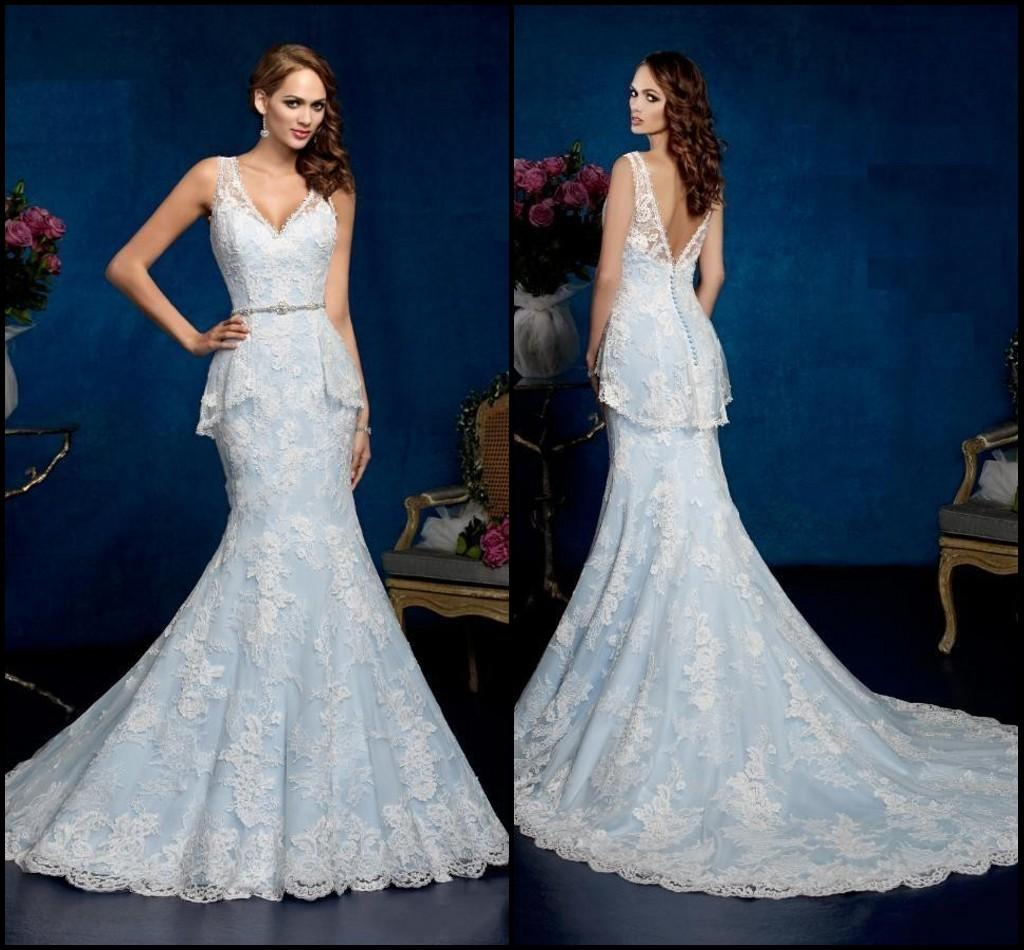 Gorgeous blue wedding dresses ice cream v neck sleeveless for Ice blue wedding dress