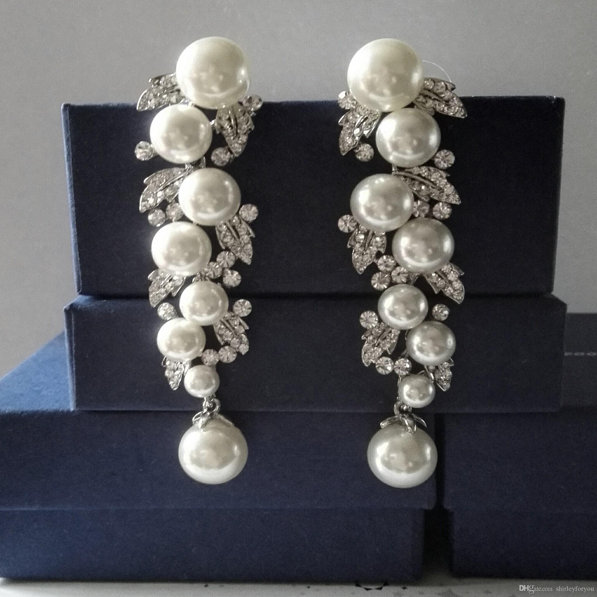 Pearl Drop Earrings With Aaaa Crystals Brown Clear White Ba 120