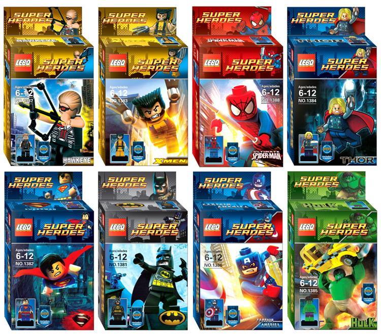 new super heroes superman iron man hulk spider man thor x man hawkeye building blocks sets mini figure diy bricks toys gift 8 model 1381 138 batman superman iron man