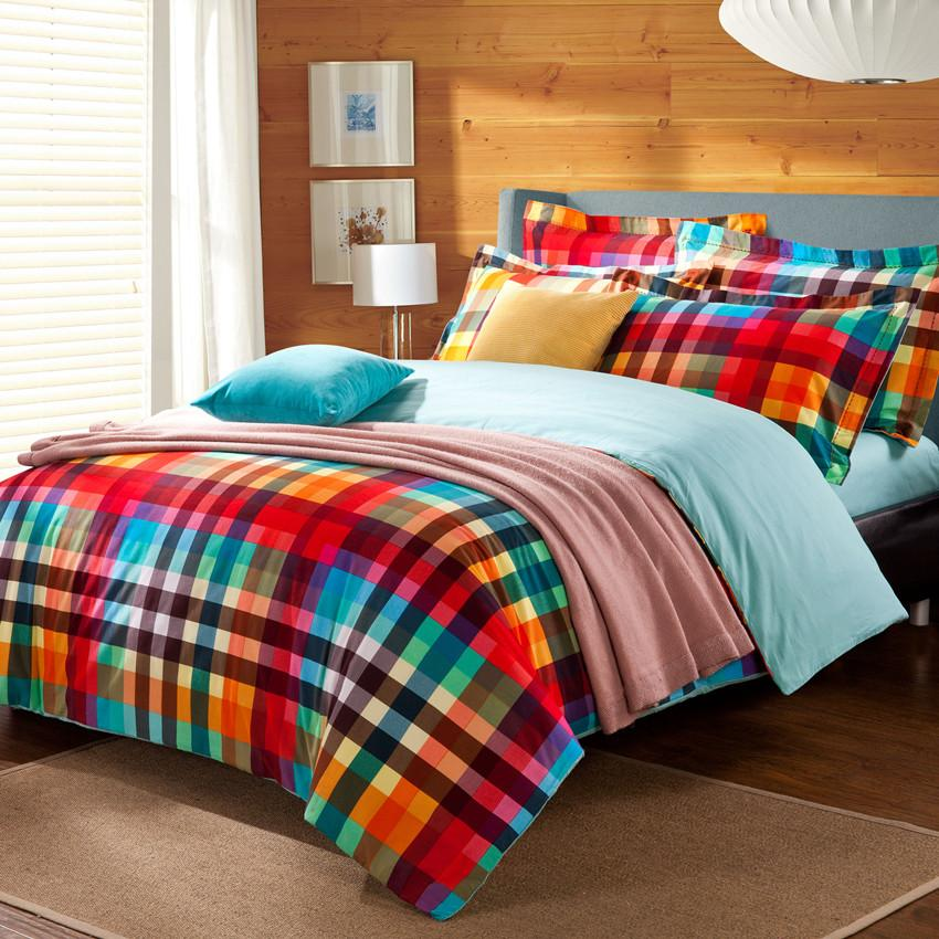 Preppy Style Colorful Green Red Checked Plaid Bedding Set
