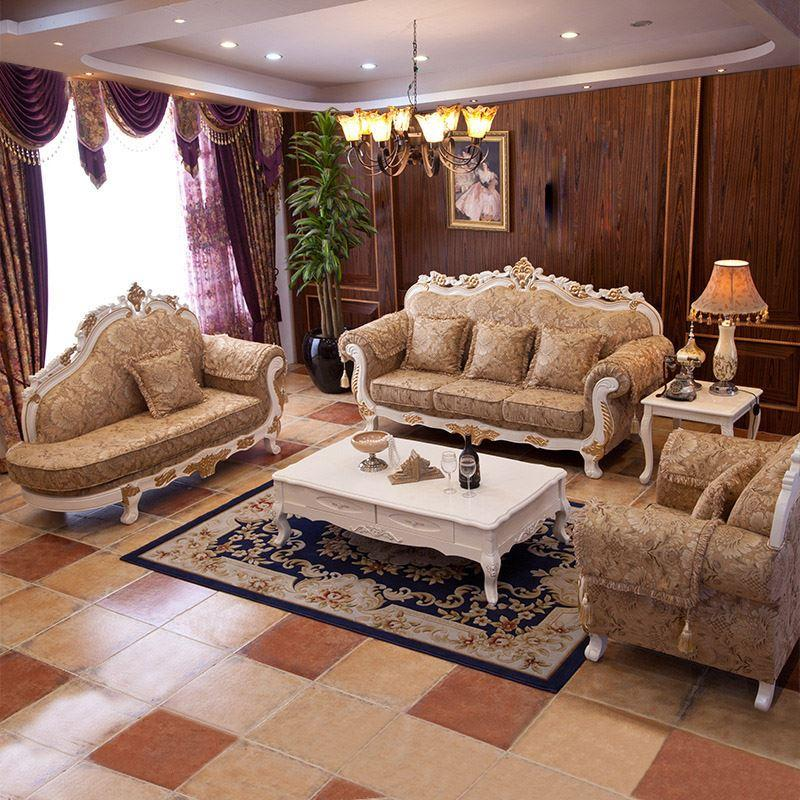 The New European-style Wood Sofa size apartment living room Sofa American  antique carved Sofa