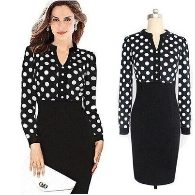 2017 2015 Sexy Women Professional Long Sleeve Black Polka Dot Work ...