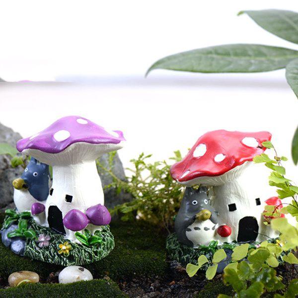 2017 totoro pot mushroom house fairy garden decoration home furnishings jardin terrarium glass for Decoration jardin pot