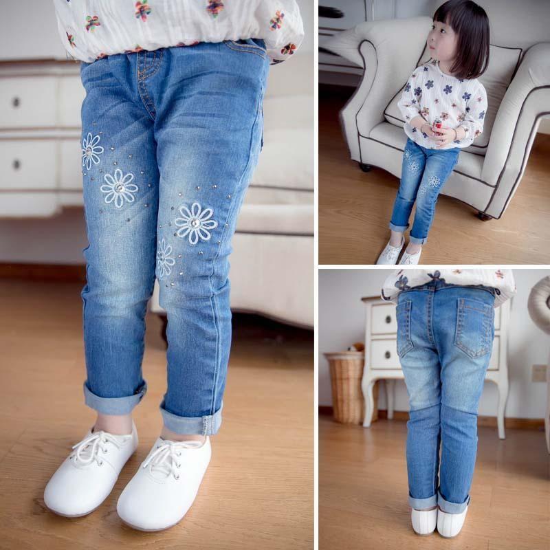 Korean Fashion Girls Jeans Kids Pants Baby Jeans 2015 Spring ...