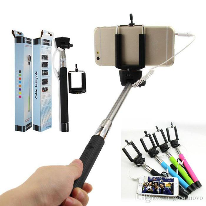 2017 z07 5s wired selfie stick handheld monopod extendable mount holder for iphone iphone 4 4s 5. Black Bedroom Furniture Sets. Home Design Ideas
