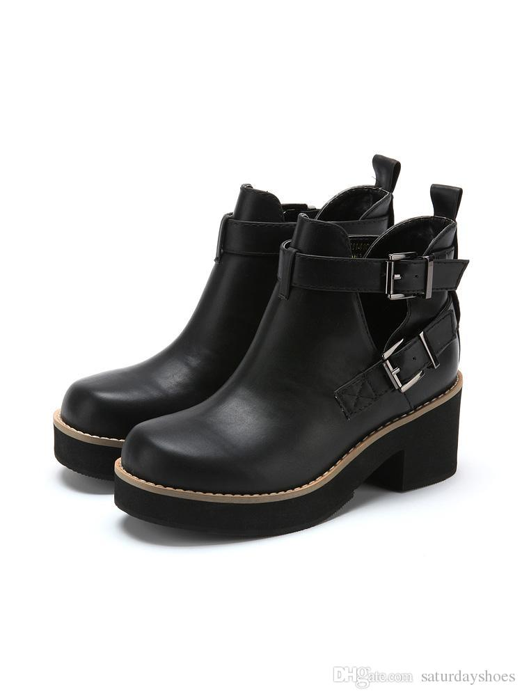 Sixty Nine Brand Womens Ankle Boots Punk Rock Buckle Strap Chunky