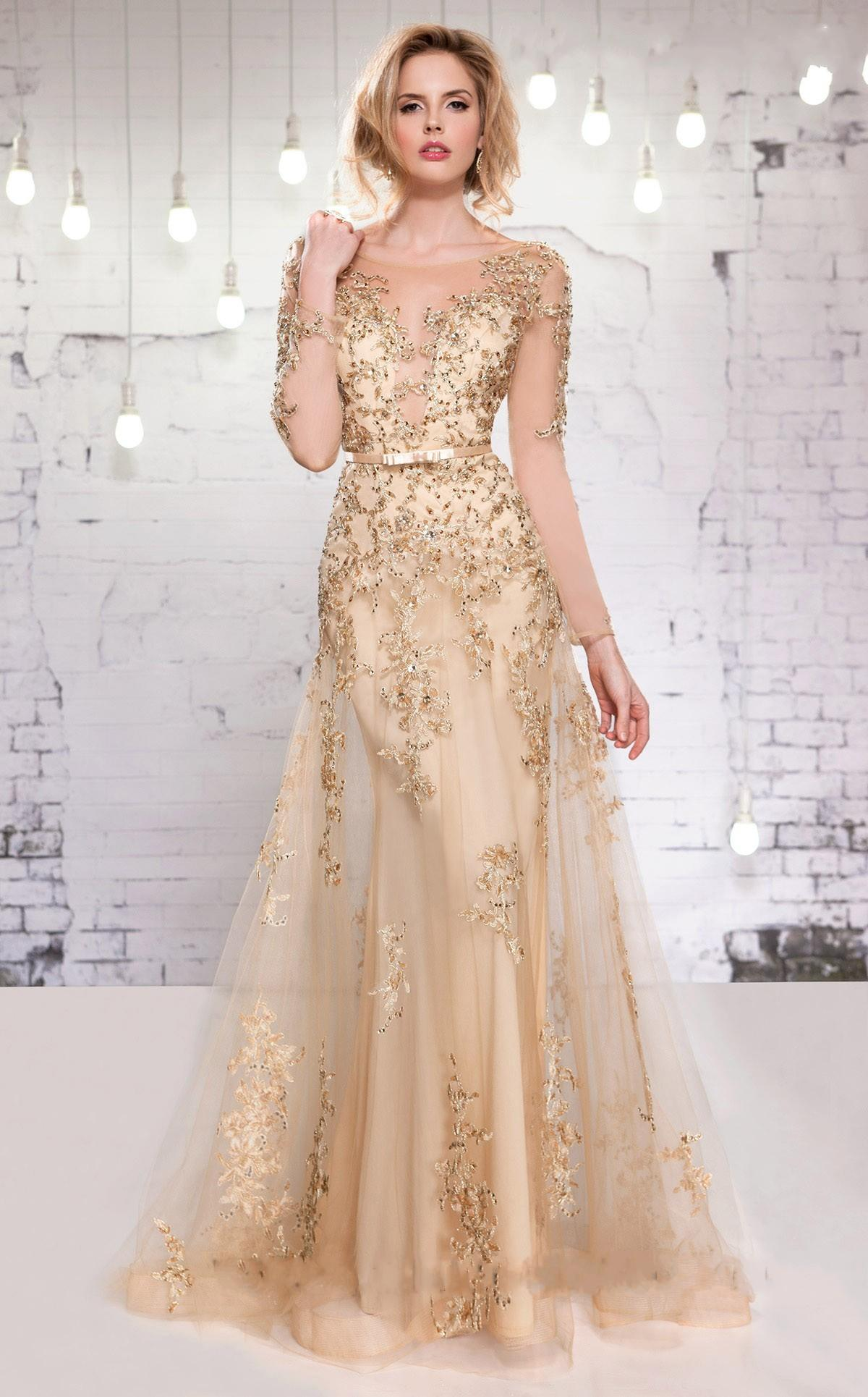 Evening Gown With Illusion Neckline Long Sleeves