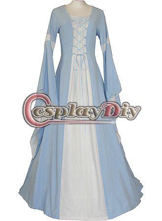 Customized Light Blue Medieval Renaissance Victorian Dress Costume ...