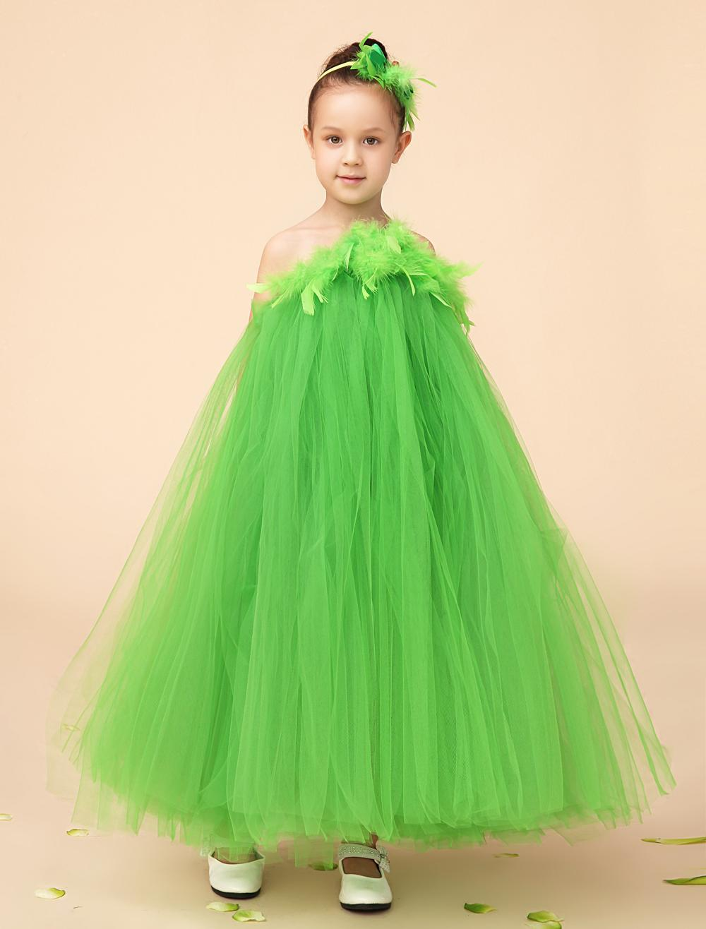 2015 Emerald Green Ball Gown Tulle Flower Gril Dresses With ...