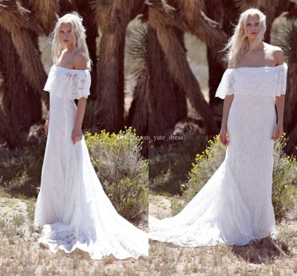 f the Shoulder Bohemian Wedding Dresses Lace Aline Sweep