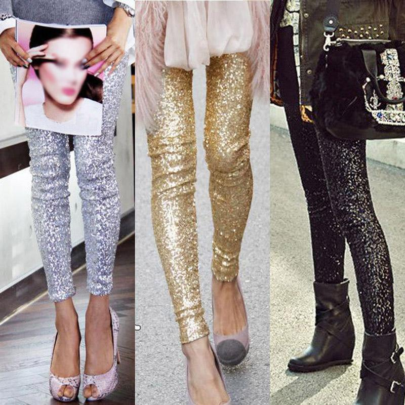 American Apparel Fashion Women Slim Trousers Embellished Sequin ...