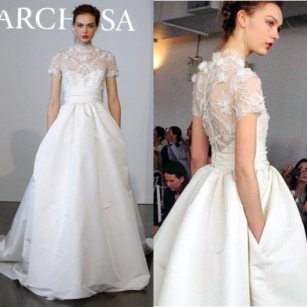 Winter 2014 Marchesa Wedding Dress High Neck Short Sleeves